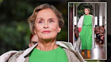 75-year-old model trips over at Paris Fashion Week – but recovers gracefully