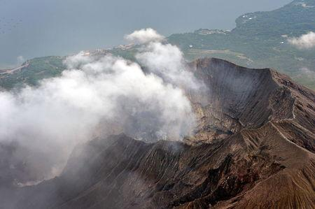 An aerial view shows the crater atop Mt. Sakurajima in Kagoshima, southwestern Japan, in this photo taken by Kyodo August 15, 2015. Mandatory credit REUTERS/Kyodo