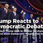 Trump tweets his reactions to democratic primary debate