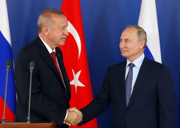 Turkish President Recep Tayyip Erdogan met with his Russian counterpart Vladimir Putin near Moscow on Tuesday (AFP Photo/Maxim SHIPENKOV)