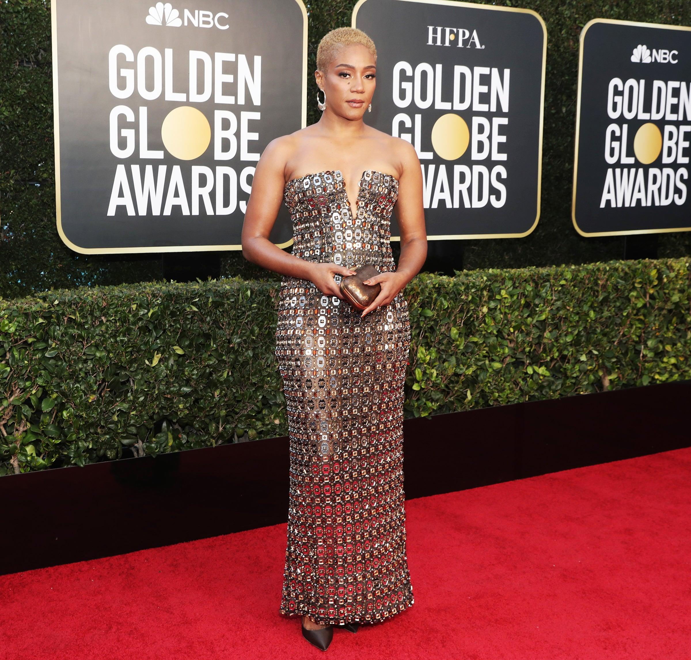 "<h2>Tiffany Haddish in custom Alberta Ferretti </h2><br>Tiffany Haddish made armour look chic in this custom, chainmail gown by Alberta Ferretti.<span class=""copyright"">Photo: Todd Williamson/NBC/NBCU Photo Bank/Getty Images.</span>"