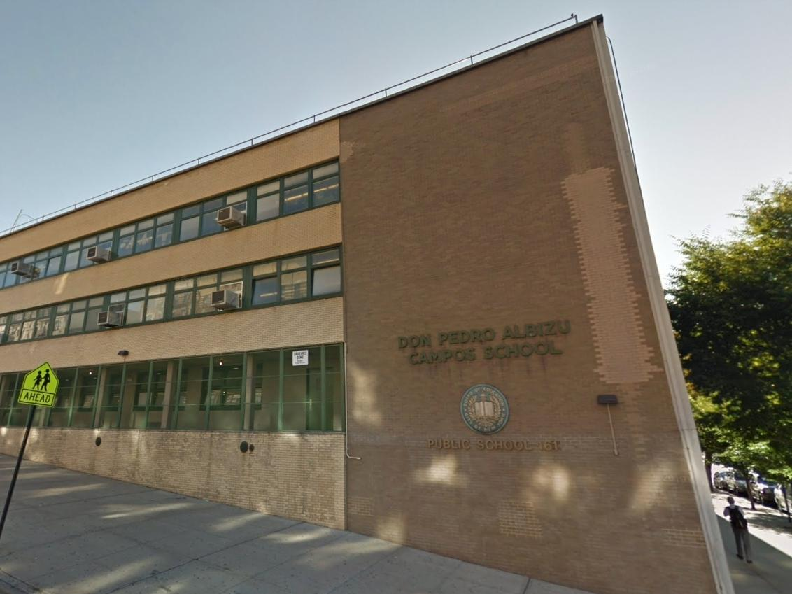 One case each was confirmed at P.S. 161 Pedro Albizu Campos on West 133rd Street (pictured), and at Esperanza Preparatory Academy​ on East 109th Street.