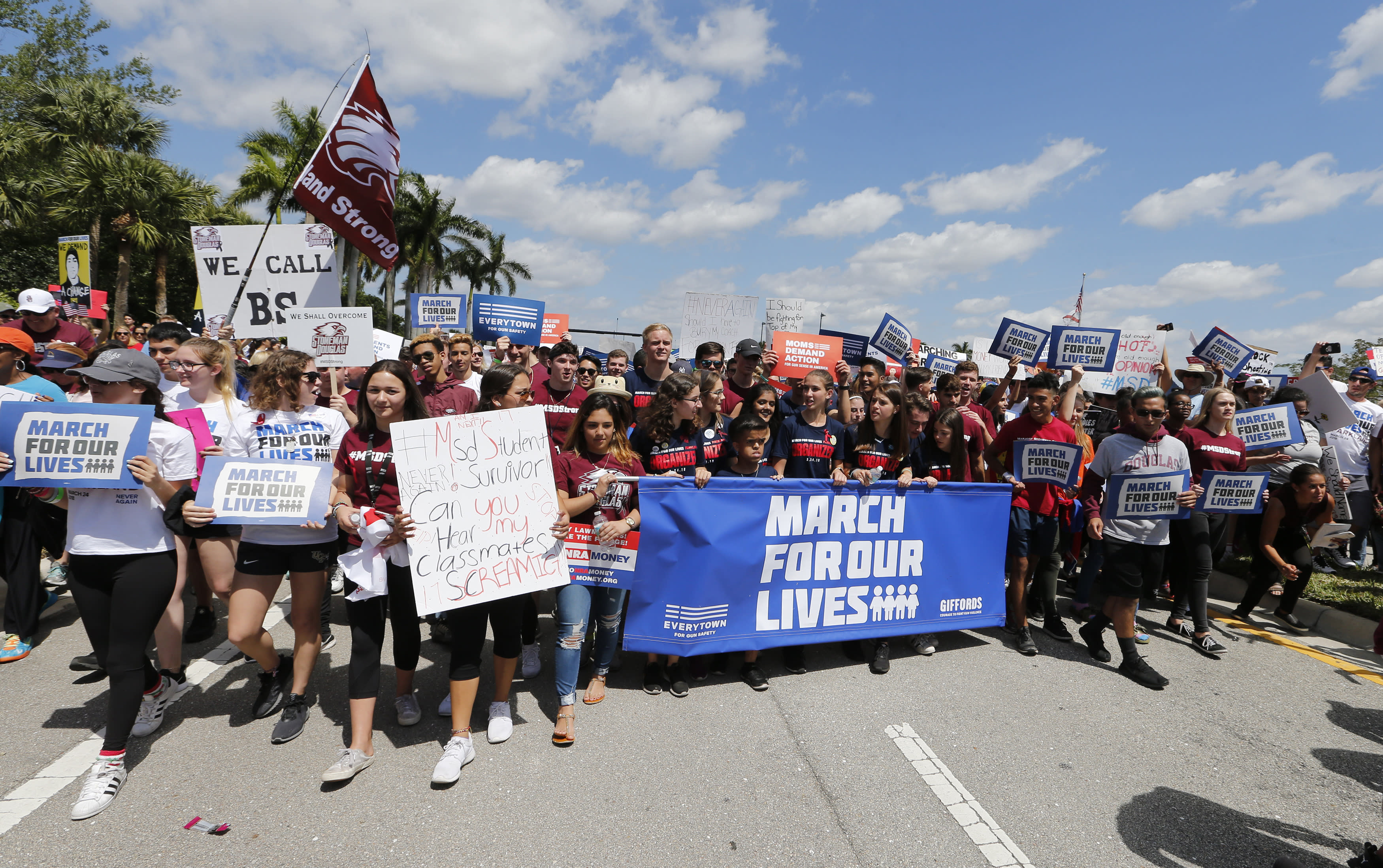 """<p>Marjory Stoneman Douglas High School students take part in a """"March For Our Lives"""" rally in Parkland, Fla. (AP Photo/Joe Skipper) </p>"""