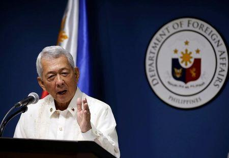 Philippines Foreign Affairs Secretary Perfecto Yasay speaks during a news conference at the Department of Foreign Affairs in Pasay city Metro Manila