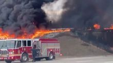 Driving home from the hospital 3 days after giving birth, a woman saved a man from a burning oil tanker