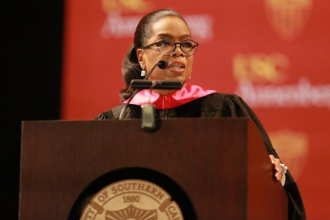 LOS ANGELES, CA - MAY 11:  Media producer Oprah Winfrey addresses The USC Annenberg School For Communication And Journalism Celebrates Commencement at The Shrine Auditorium on May 11, 2018 in Los Angeles, California.  (Photo by Leon Bennett/Getty Images)