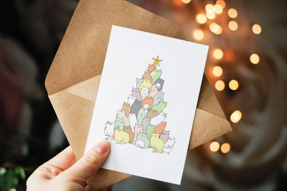 9 adorable and funny cat christmas cards to send your. Black Bedroom Furniture Sets. Home Design Ideas