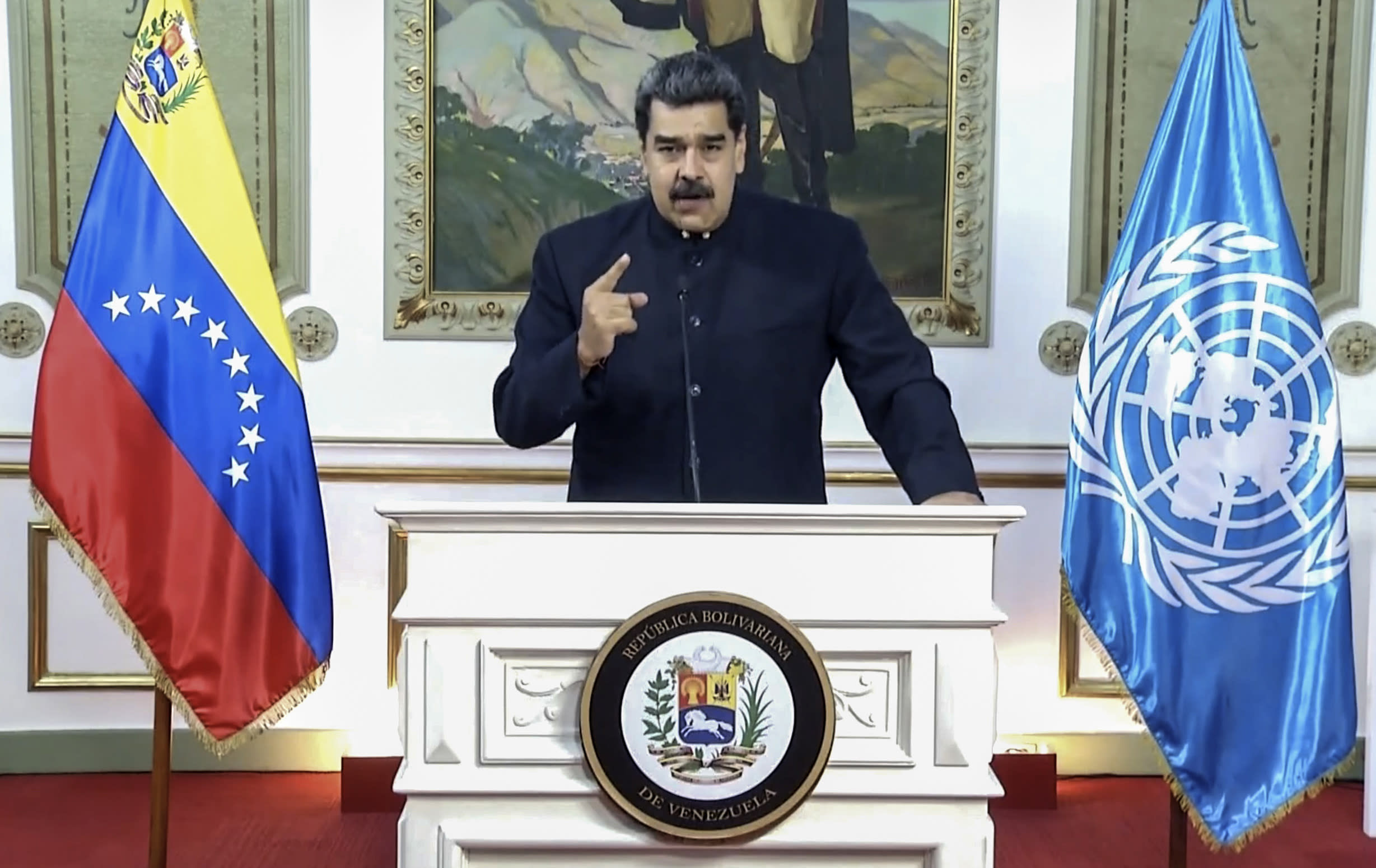 In this UNTV image, Nicolás Maduro Moros, President of Venezuela, speaks in a pre-recorded video message during the 75th session of the United Nations General Assembly, Wednesday, Sept. 23, 2020, at UN headquarters in New York. The U.N.'s first virtual meeting of world leaders started Tuesday with pre-recorded speeches from heads-of-state, kept at home by the coronavirus pandemic. (UNTV via AP)