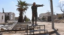 In northern Syria, defeated Isis fighters leave behind only scorched earth, trenches – and a crucifixion stand