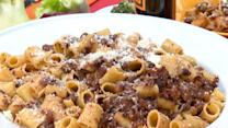Mario Batali's Rigatoni With Sausage and Turnips in Green Olive Pesto