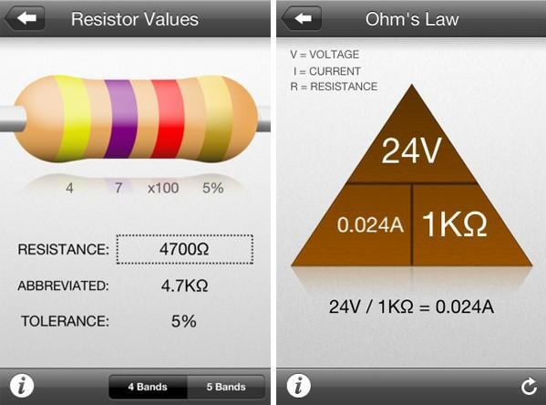 Adafruit's Circuit Playground app deciphers resistor codes, helps you remember Ohm's Law
