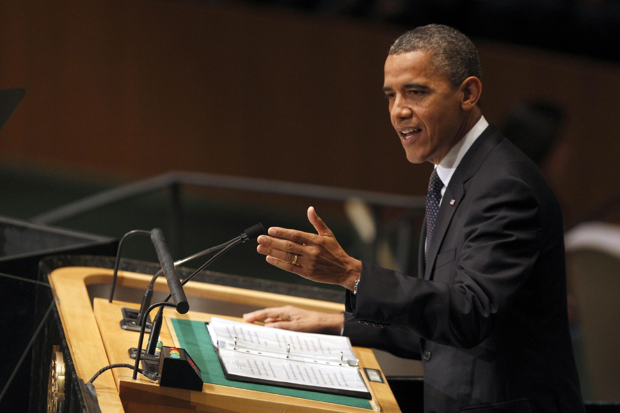President Barack Obama addresses the 67th session of the United Nations General Assembly at U.N. headquarters Tuesday, Sept. 25, 2012. (AP Photo/Mary Altaffer)