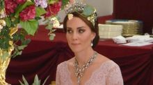 Duchess of Cambridge wears Diana's tiara and plunging Marchesa gown at state banquet