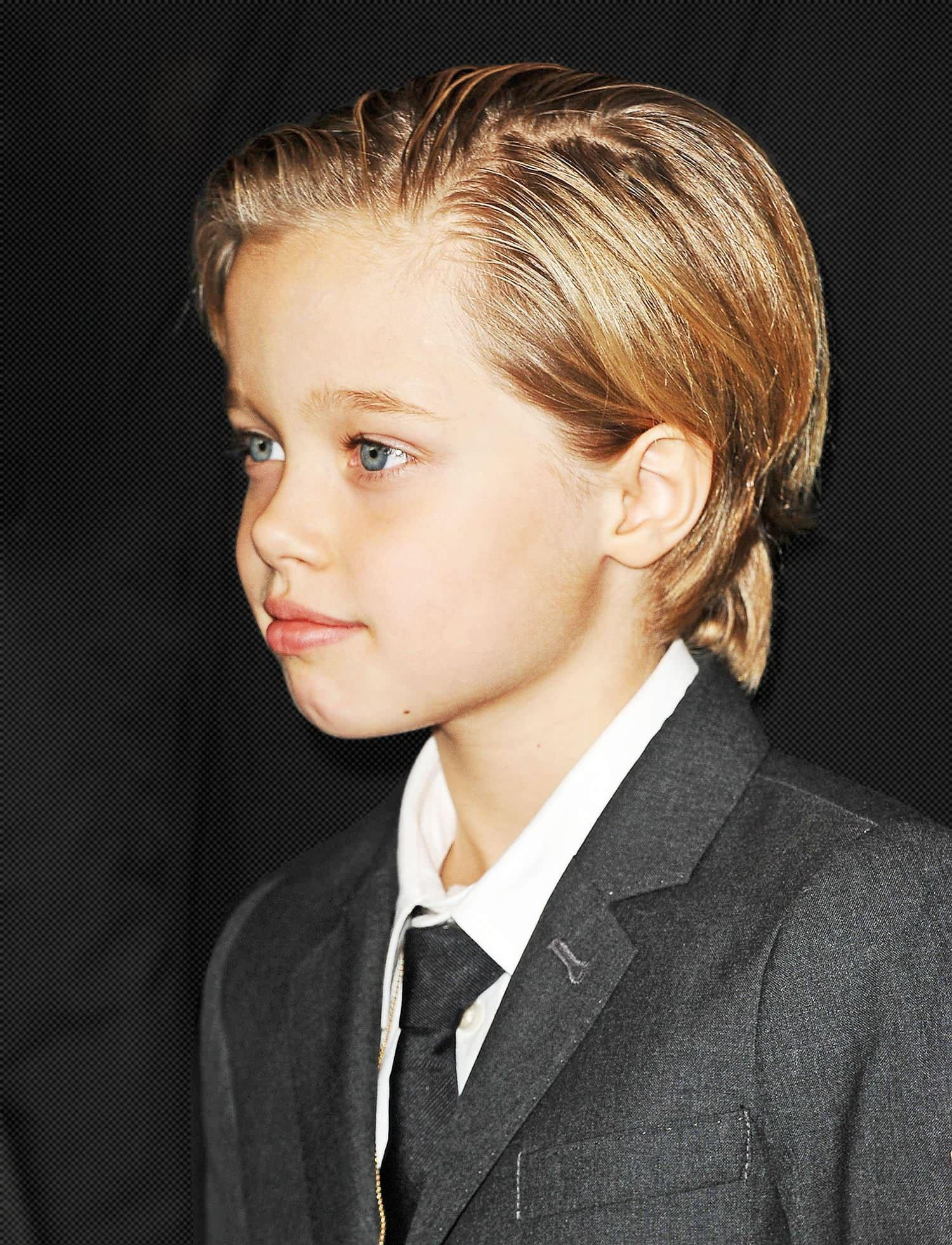 shiloh jolie pitt steals the spotlight in a suit. Black Bedroom Furniture Sets. Home Design Ideas