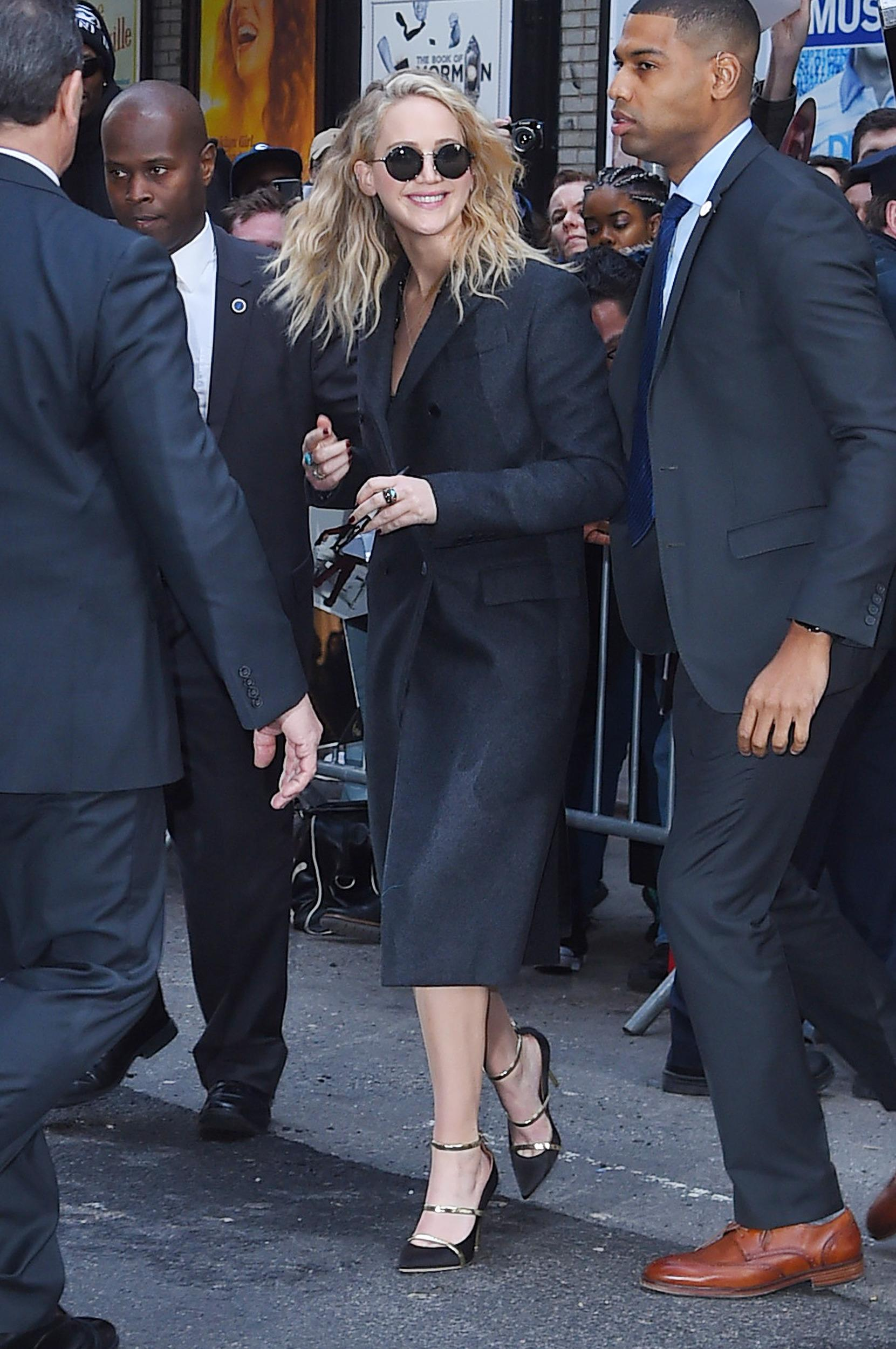 NEW YORK, NY - FEBRUARY 26: Jennifer Lawrence seen on the streets of  Manhattan on February 26, 2018 in New York City. (Photo by Josiah Kamau/BuzzFoto via Getty Images)