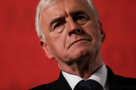 FILE PHOTO: Britain's Shadow Finance Minister John McDonnell, pauses as he sets out Labour's demands for the Spring Statement, in London