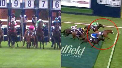 Jockey's lucky escape as riderless horse wins