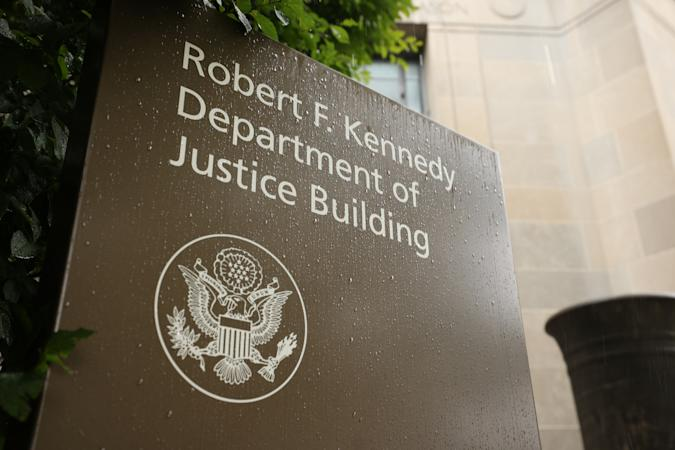 WASHINGTON, DC - JUNE 11: The U.S. Department of Justice is seen on June 11, 2021 in Washington, DC. Trump's Justice Department subpoenaed Apple for data from House Intelligence Committee Democrats including Rep. Adam Schiff (D-CA) and Rep. Eric Swalwell (D-CA) and their families. (Photo by Kevin Dietsch/Getty Images)