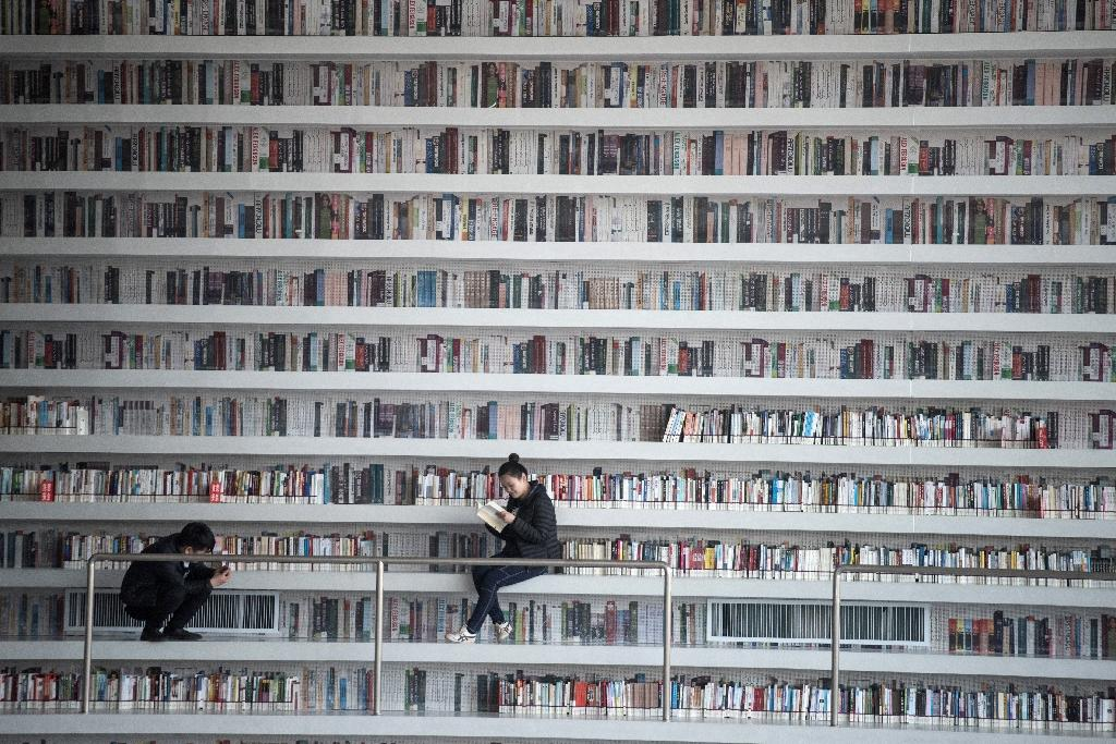 A woman reading a book at the Tianjin Binhai Library (AFP Photo/FRED DUFOUR)
