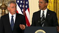 "Obama: ""Chuck Hagel is the leader that our troops deserve"""