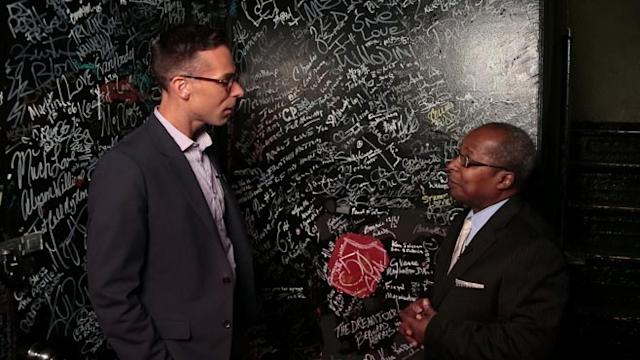 Historian Billy Mitchell at Apollo Theater's 'Wall of Signatures'