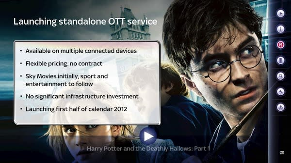 Sky will launch an internet based TV service in the UK in the first half of 2012