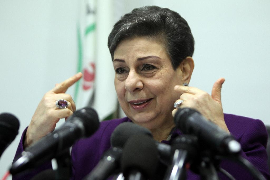 PLO executive committee member Hanan Ashrawi addresses a press conference in the West Bank town of Ramallah on February 24, 2015