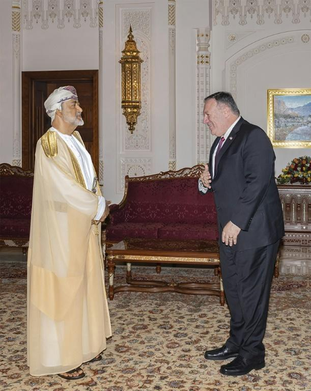 Secretary of State Mike Pompeo in August 2020 meets Omani Sultan Haitham bin Tariq, who played a key role in an apparent swap of US captives in Yemen for stranded supporters of Huthi rebels