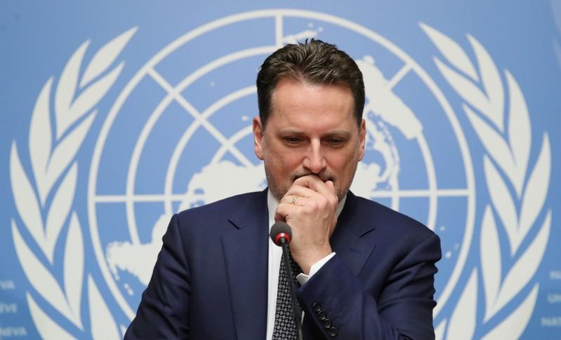 FILE PHOTO: Krahenbuhl Commissioner-General of the UNRWA attends a news conference in Geneva