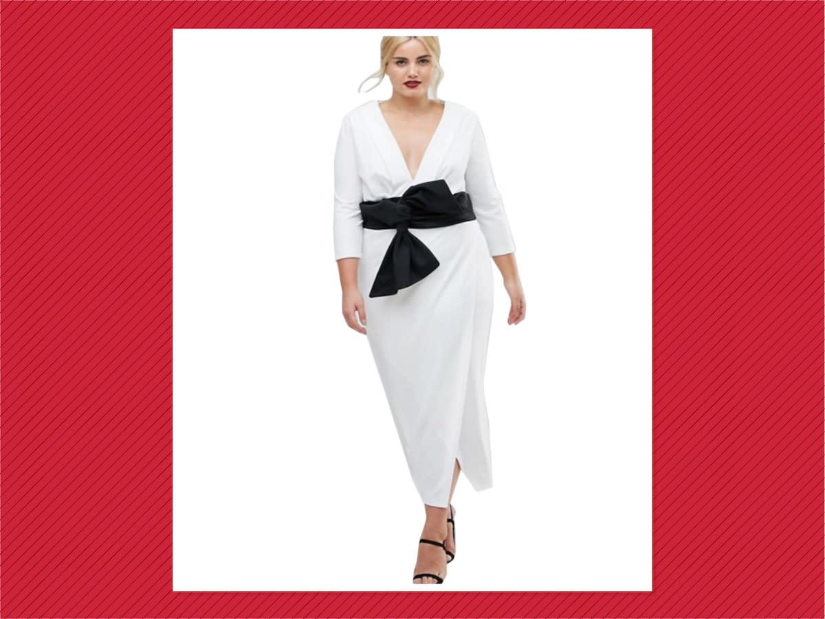 <p>ASOS Curve Deep Plunge Origami Bow Front Maxi Dress, $76, ASOS (Photo: ASOS) </p>