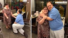 The moment a man with Down's syndrome plucks up the courage to propose to his girlfriend