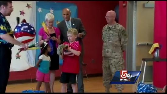Military dad surprises son after 13-months away