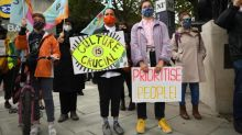 Workers gather outside National Theatre to protest against 1,000 'callous' South Bank arts job cuts