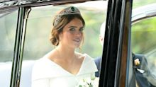 Princess Eugenie is a blushing bride as she weds Jack Brooksbank in sophisticated Peter Pilotto gown
