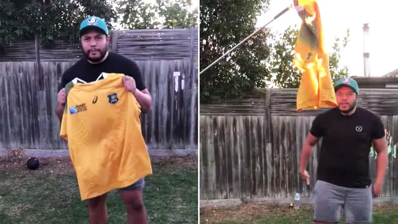 'Rugby Australia is a joke': Fuming Israel Folau fan burns Wallabies jersey