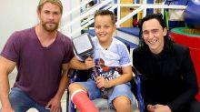 Chris Hemsworth and Tom Hiddleston Visit Children's Hospital as Thor and Loki