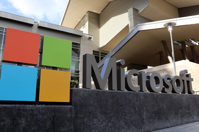 Microsoft logo seen at their building in Redmond. Microsoft...