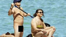 Alan Carr and David Walliams recreate Orlando and Katy's naked paddleboarding moment
