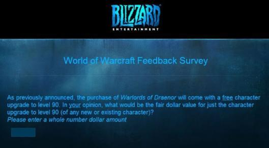 World of Warcraft survey asks, 'How much would you pay?'