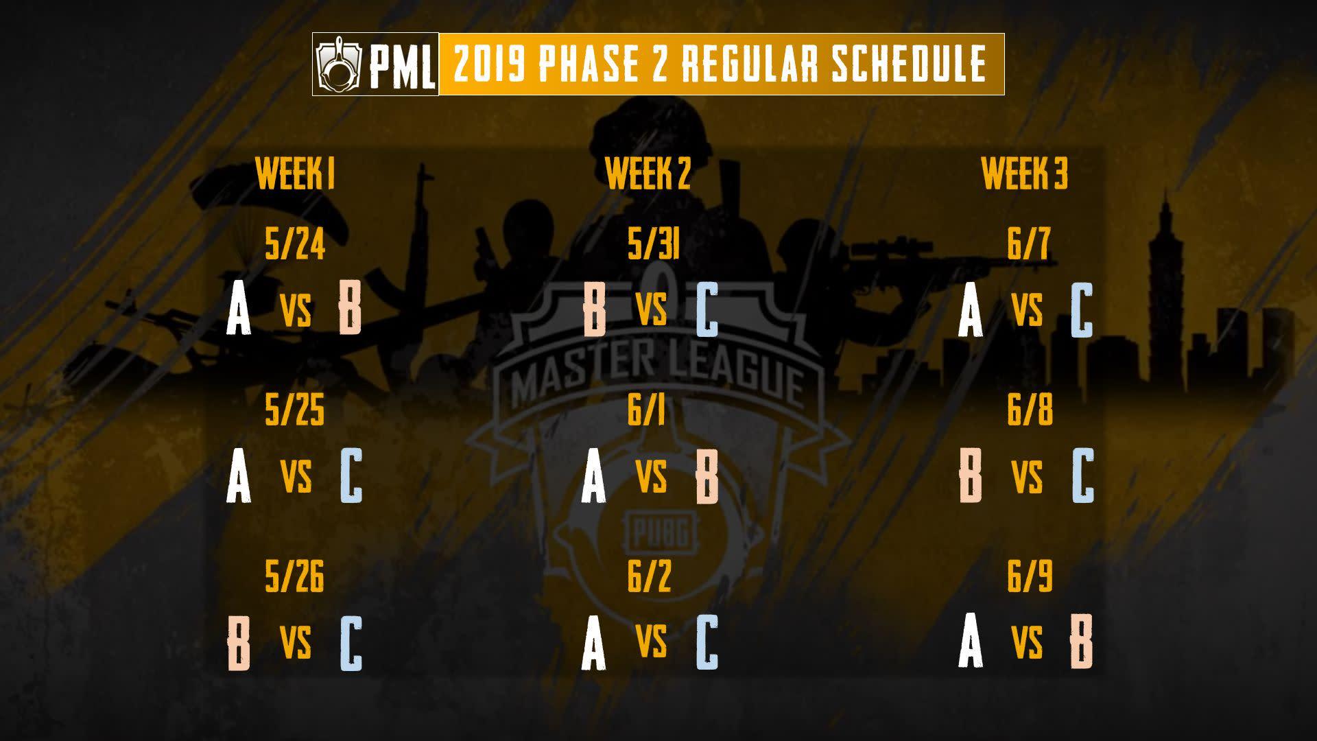 PML Phase 2 例賽賽程表