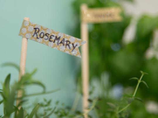 <p>To make cute plant markers for your herbs, use wooden dowels and a bit of washi tape. </p>