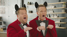 Neil Patrick Harris and James Corden deliver singing telegrams and laughs