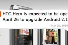 HTC Hero update to Android 2.1 on April 26th in home country of Taiwan