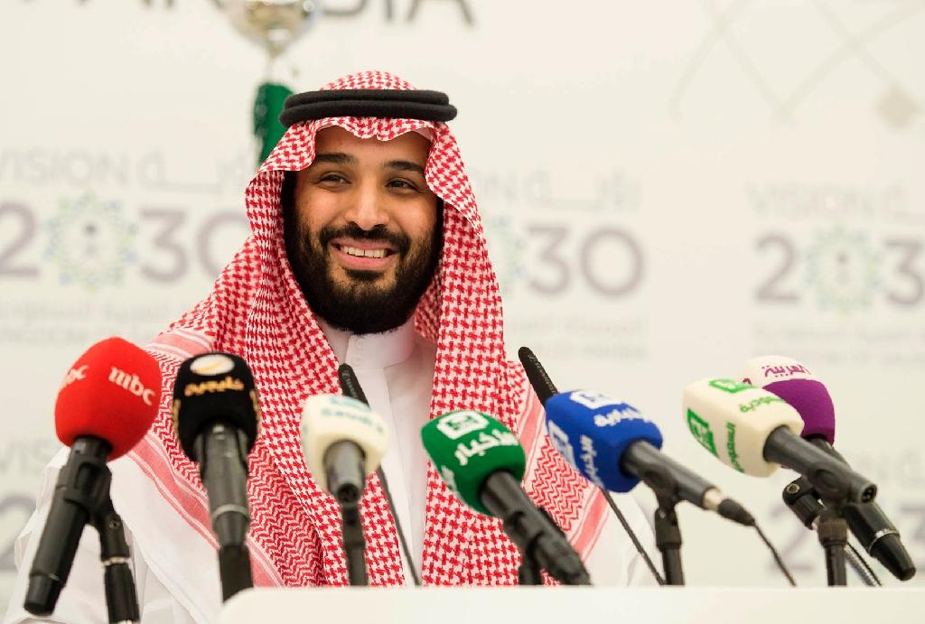 Deputy Crown Prince Mohammed bin Salman smiling during a press conference in Riyadh on April 25, 2016