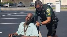 'Great compassion and kindness': Police officer's kind act for man in broken wheelchair