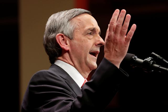 Pastor Robert Jeffress has been a staunch Trump supporter for months. He was the one who delivered a sermon for the president on the morning of Trump's inauguration.  (Yuri Gripas / Reuters)