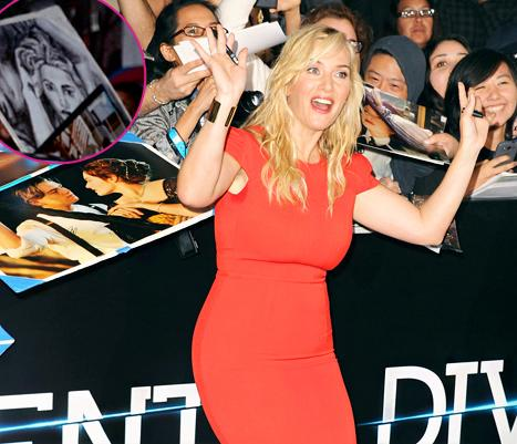 Kate Winslet Receives A Nude Rose Titanic Drawing From Fan At Divergent Premiere