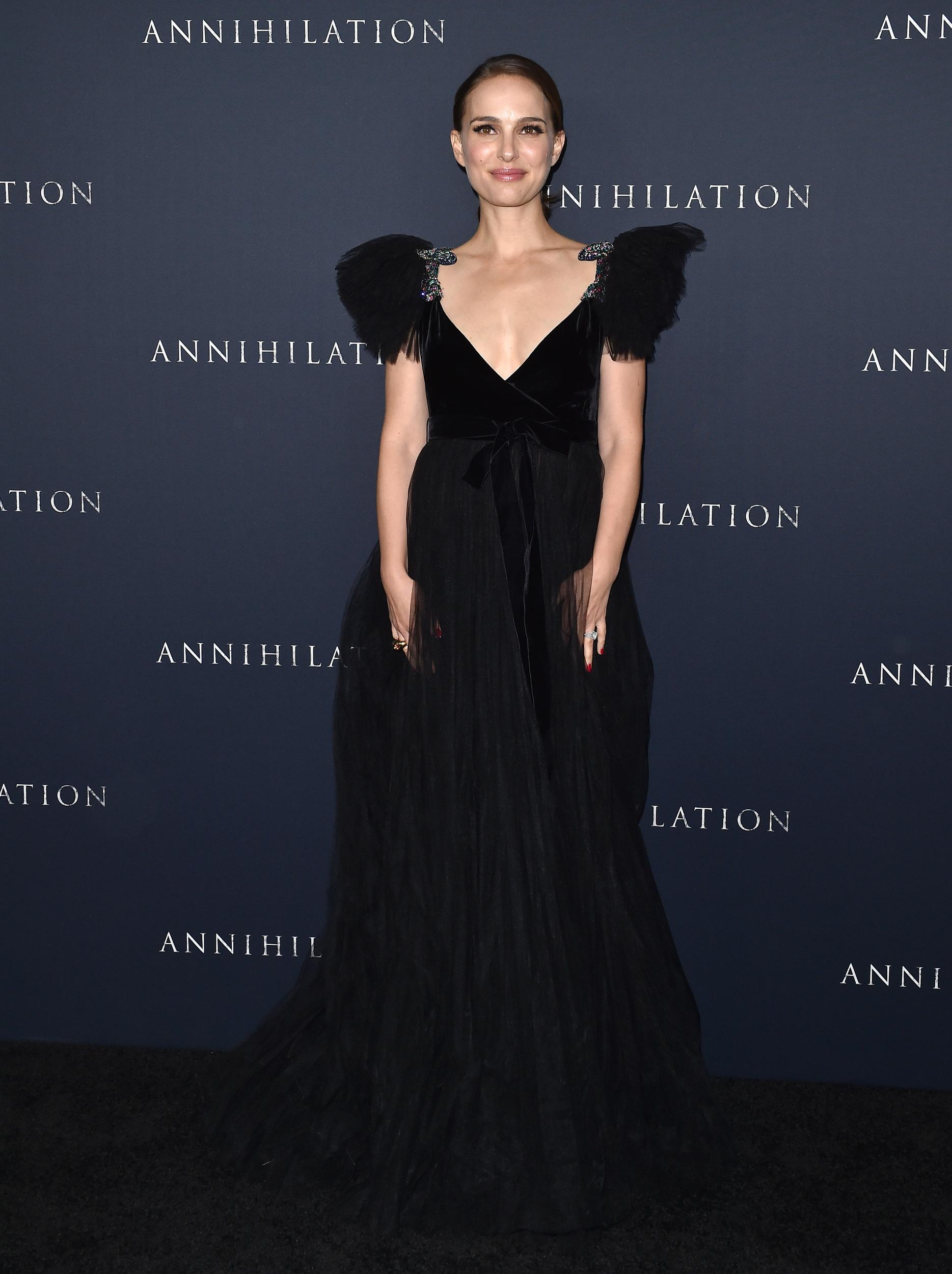WESTWOOD, CA - FEBRUARY 13:  Actress Natalie Portman attends the Los Angeles premiere of 'Annihilation' at Regency Village Theatre on February 13, 2018 in Westwood, California.  (Photo by Axelle/Bauer-Griffin/FilmMagic)