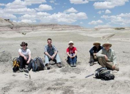 The fieldwork team (L to R): Sarah Shelley, Eric Davidson, Carissa Raymond, Steve Brusatte, Ross Secord, are pictured in this undated handout photo, taken in New Mexico and provided by Tom Williamson. Scientists on October 5, 2015, REUTERS/Tom Williamson/Handout via Reuters
