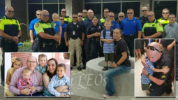 Dozens of Police Officers Escort Fallen Comrade's Children on Their First Day of School
